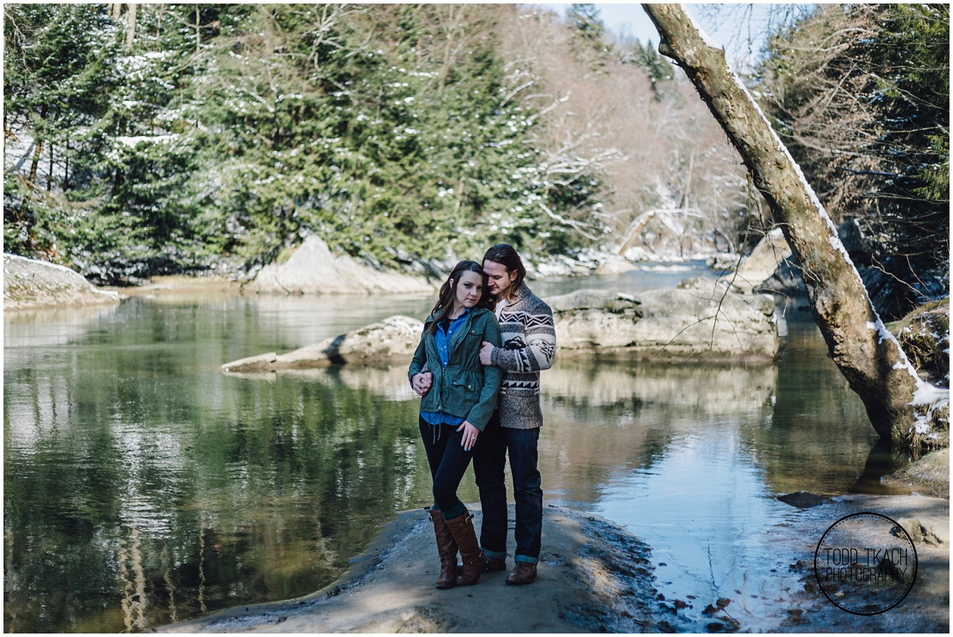 Meggan & Jimi River Rock Portrait - McConnells Mill Engagement