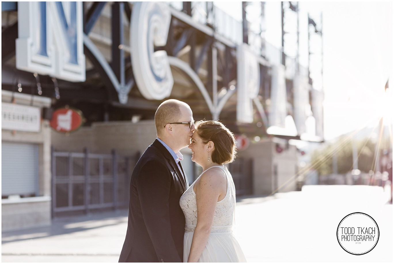 Abby & Scott Kiss PNC Park Portrait
