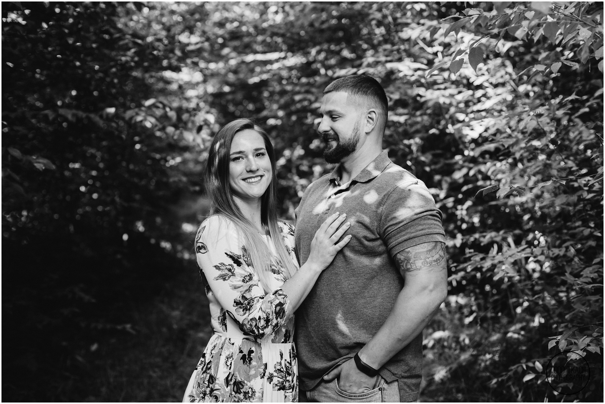 Kim & Brandon Engagement - Black and White Portrait