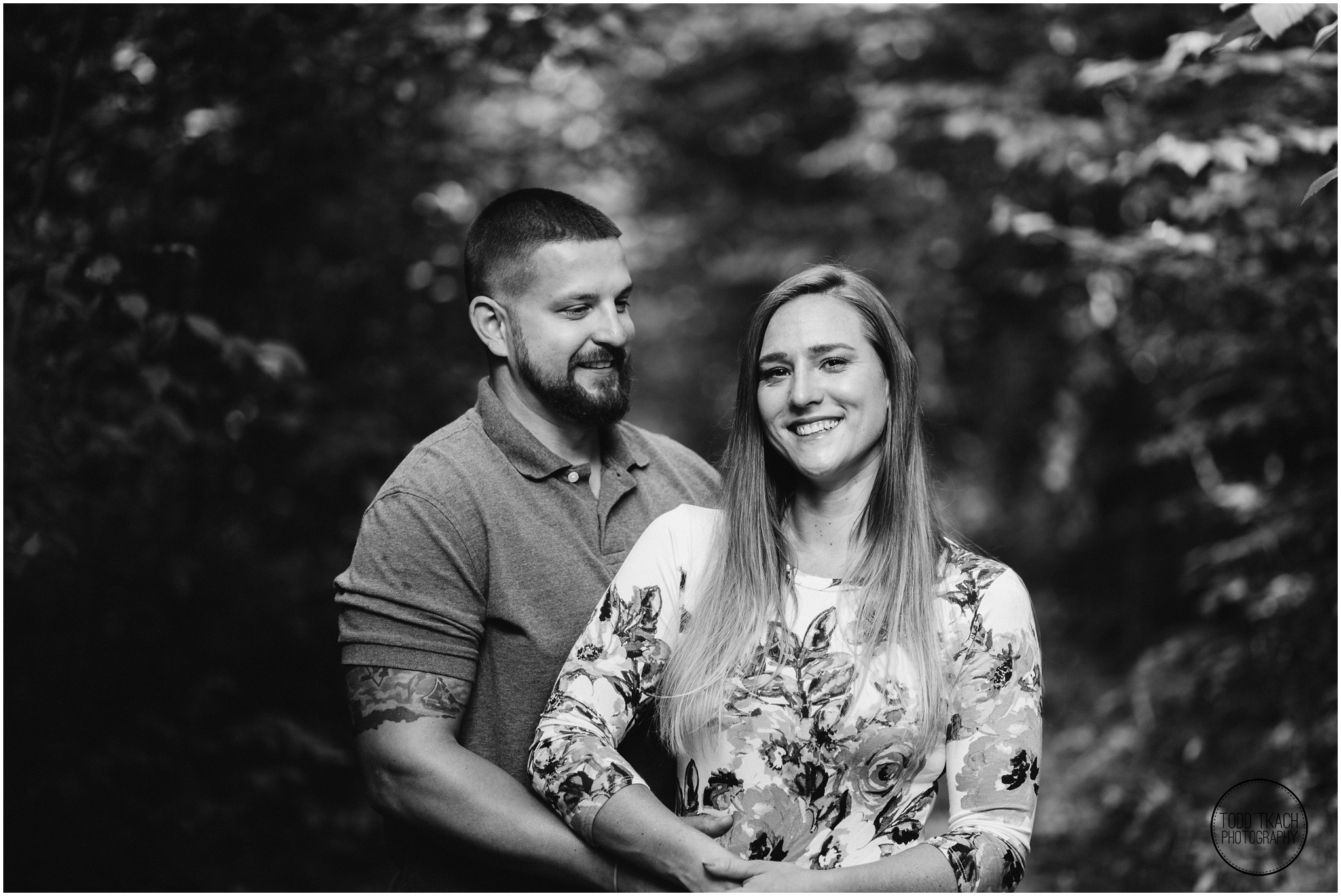 Kim & Brandon Engagement - Black and White Forest Canopy Portrait