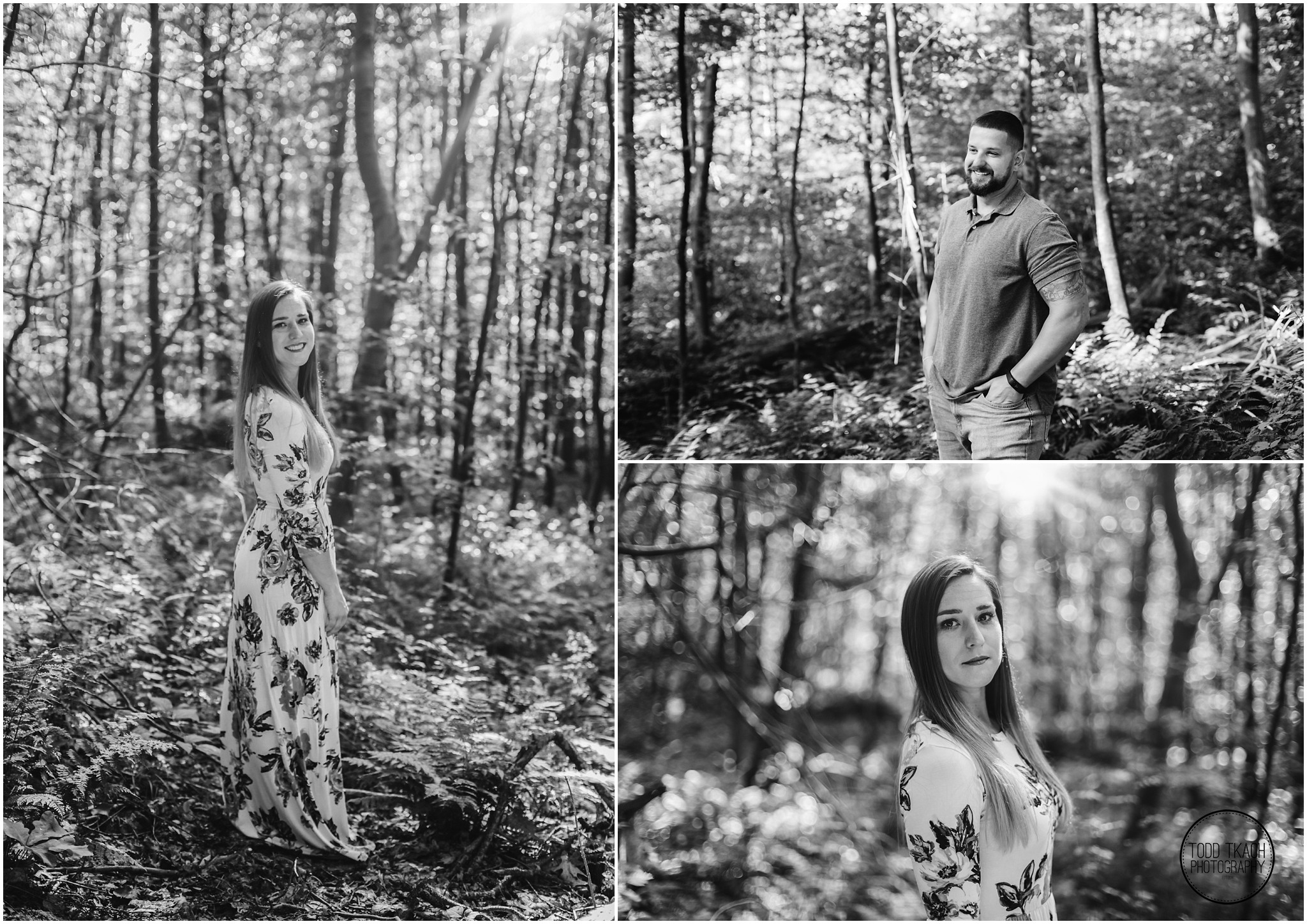 Kim & Brandon Engagement - Black and White Individual Portrait Collage
