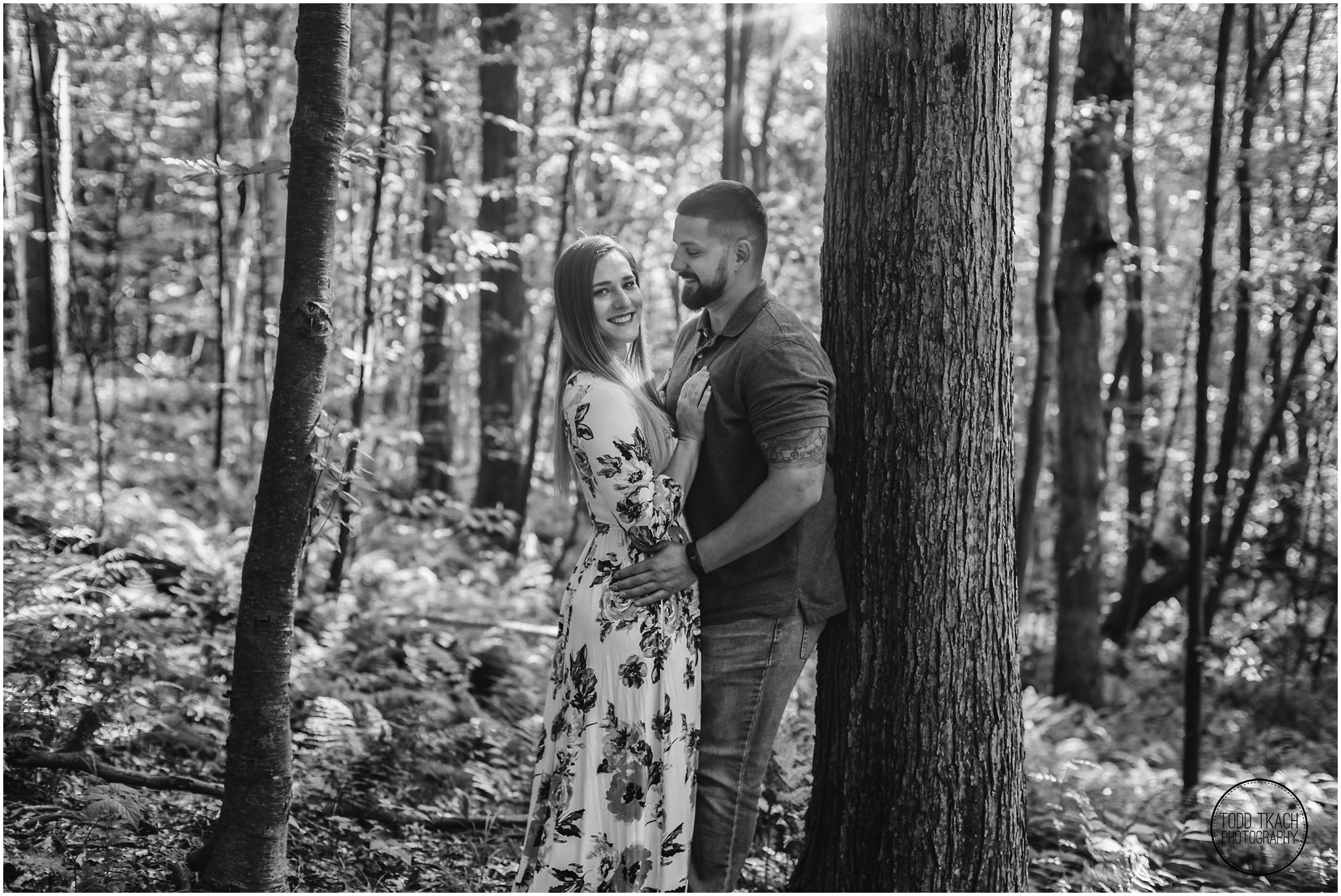 Kim & Brandon Engagement - Forest Black and White Portrait