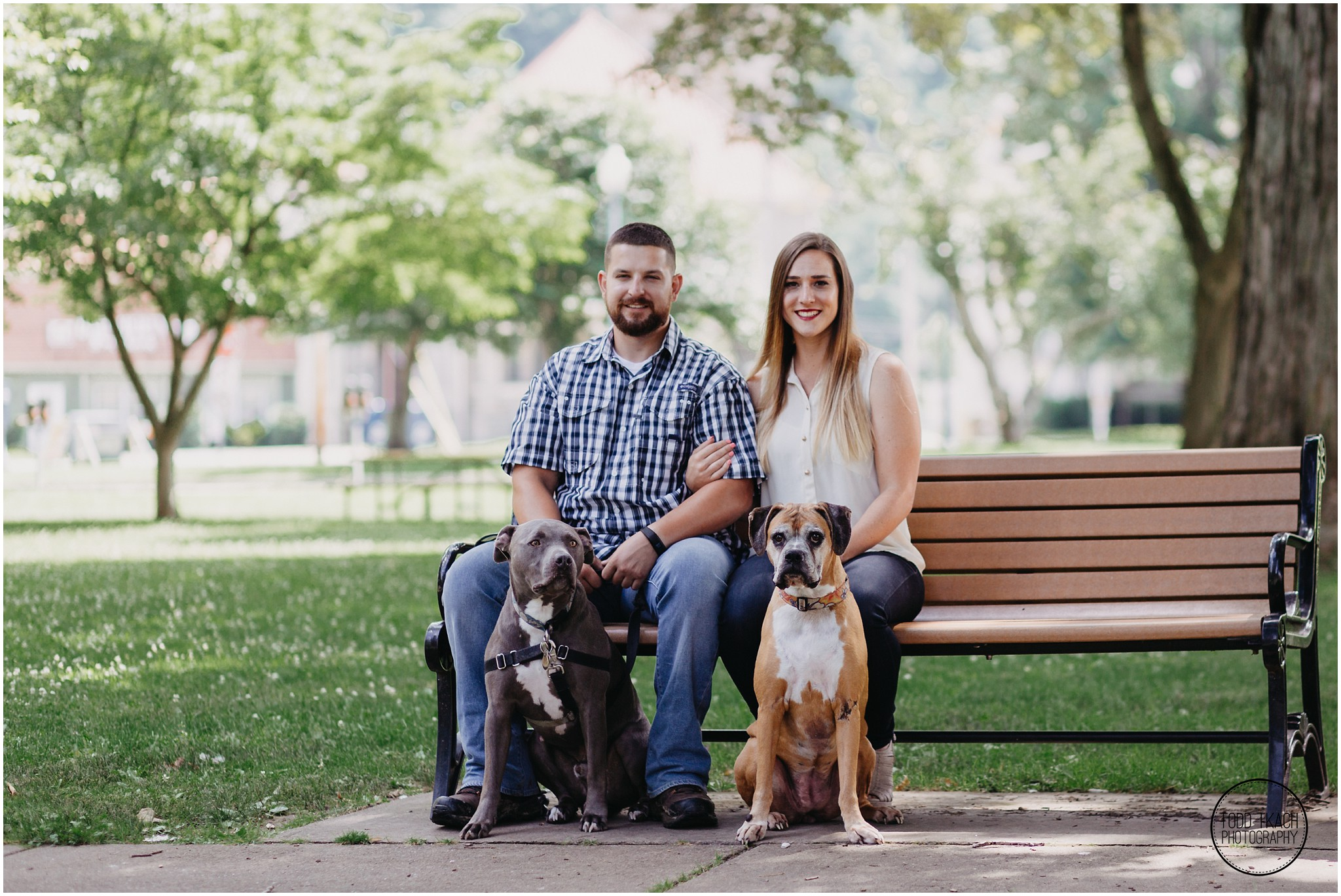 Kim & Brandon Engagement - Family Bench Portrait