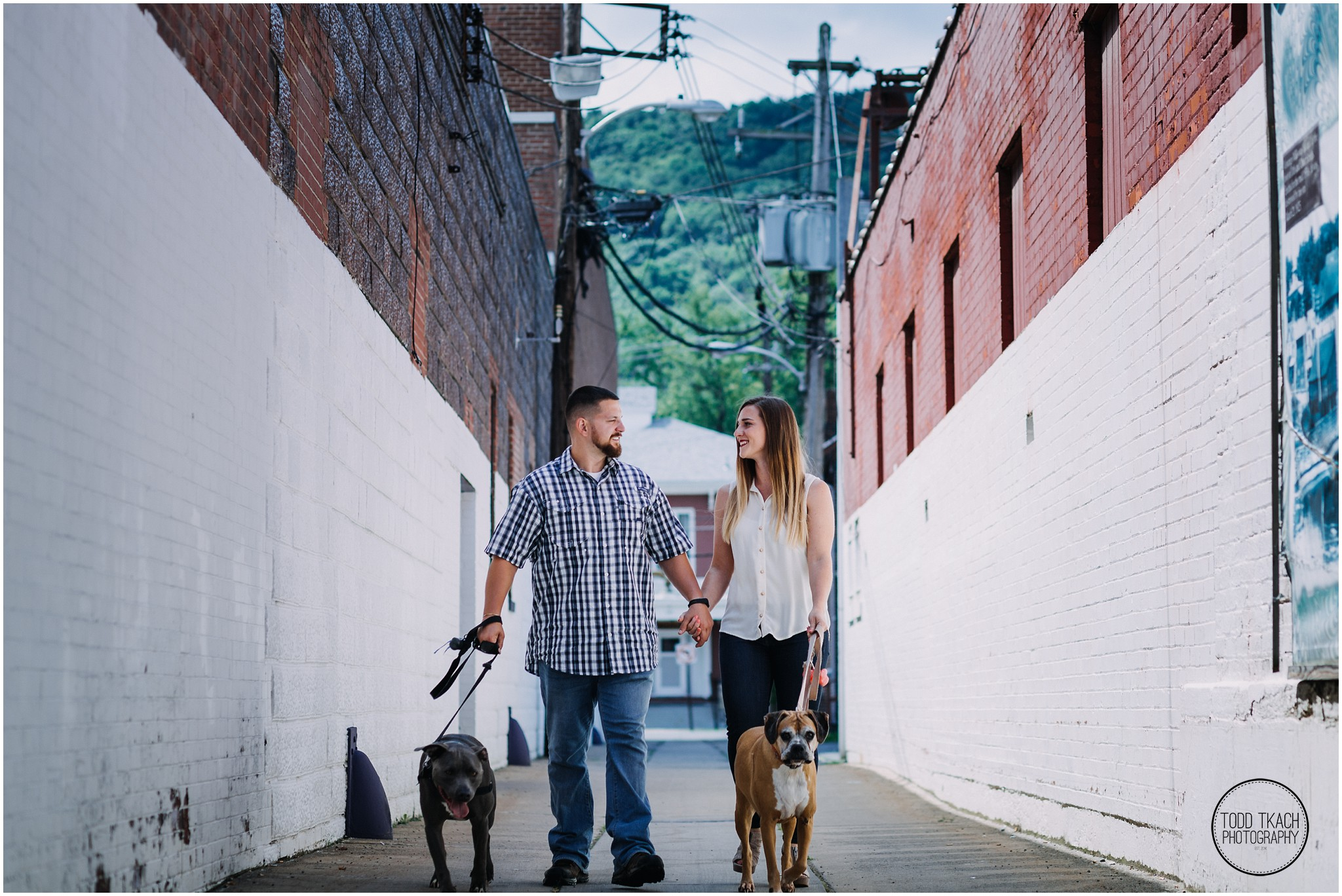 Kim & Brandon Engagement - Franklin Alleyway Walk with Dogs