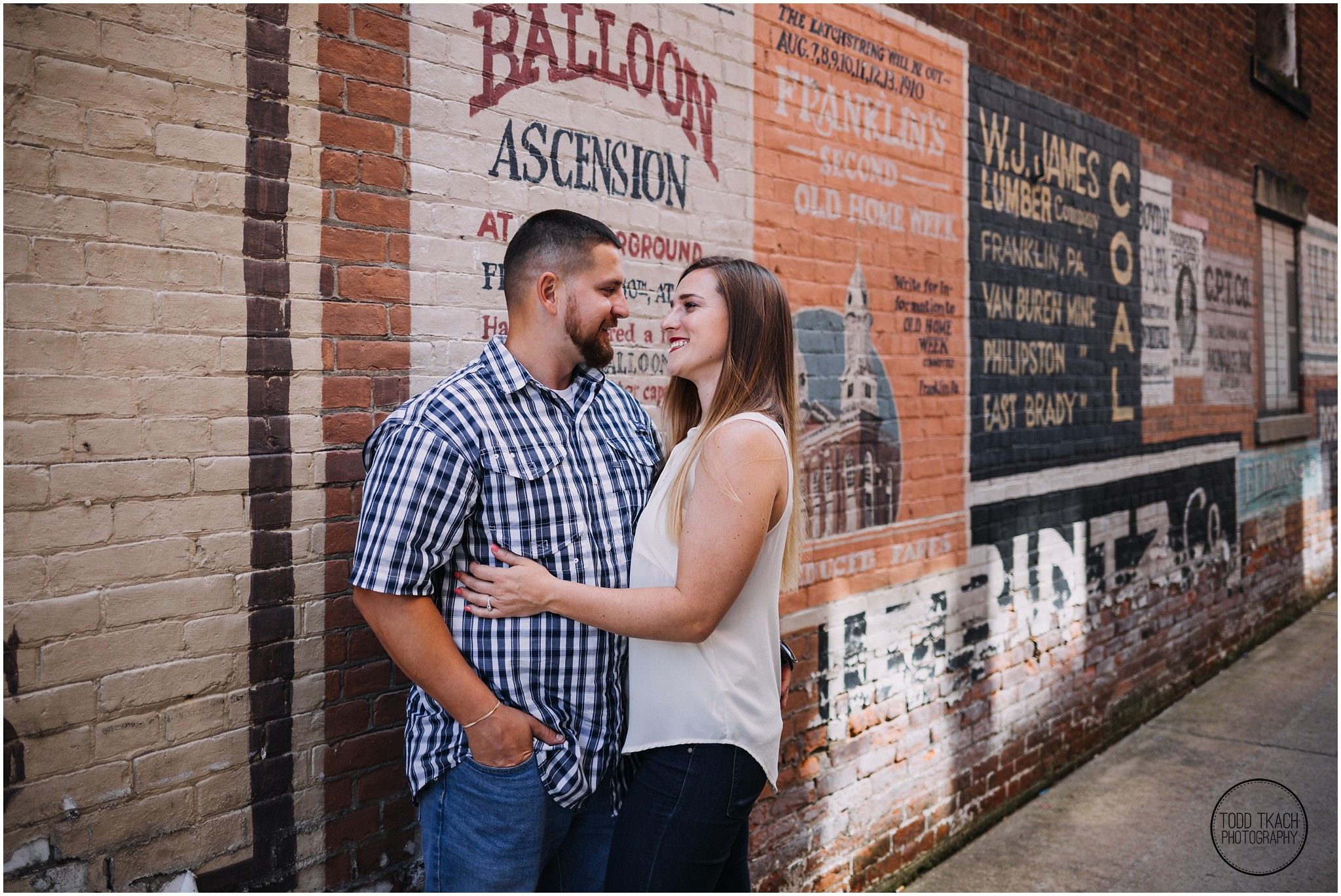 Kim & Brandon Engagement - Old Time Billboard Gaze Into Eyes Portrait