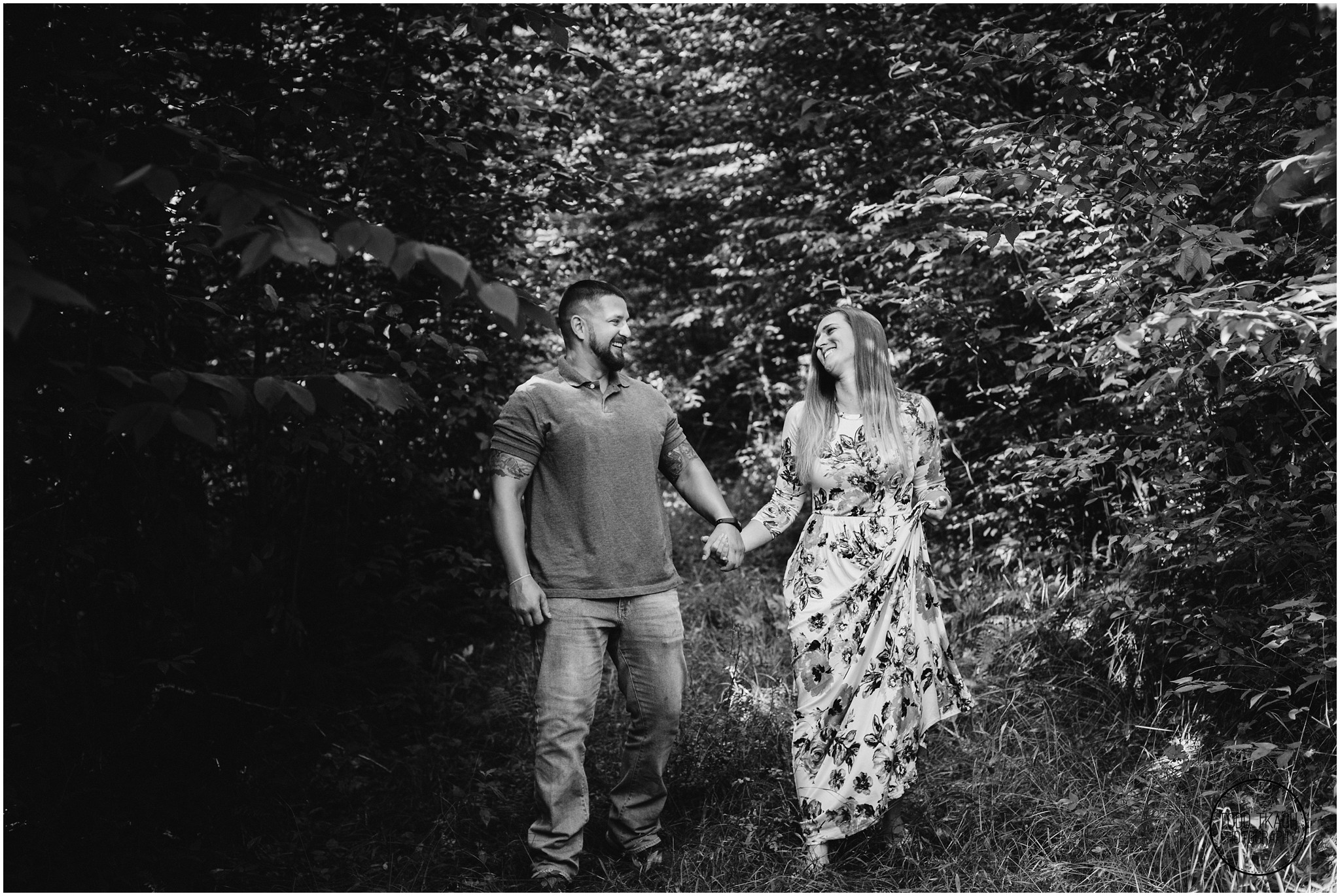 Kim & Brandon Engagement - Forest Walk Black and White