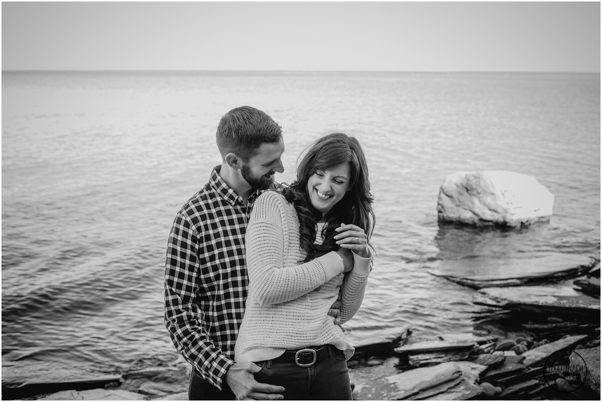 Jessica & Todd Engagement Water Portrait Laughter BW