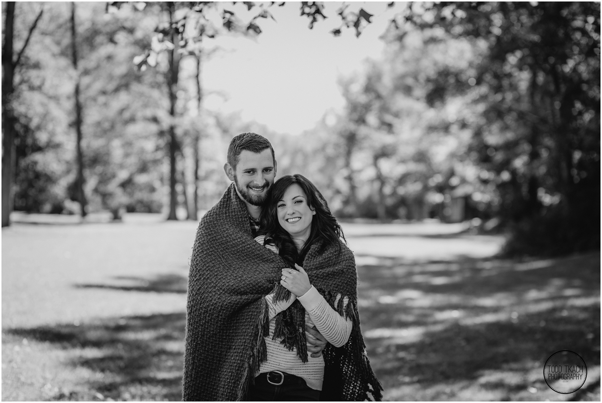 Jessica & Todd Engagement Wrapped Up B&W