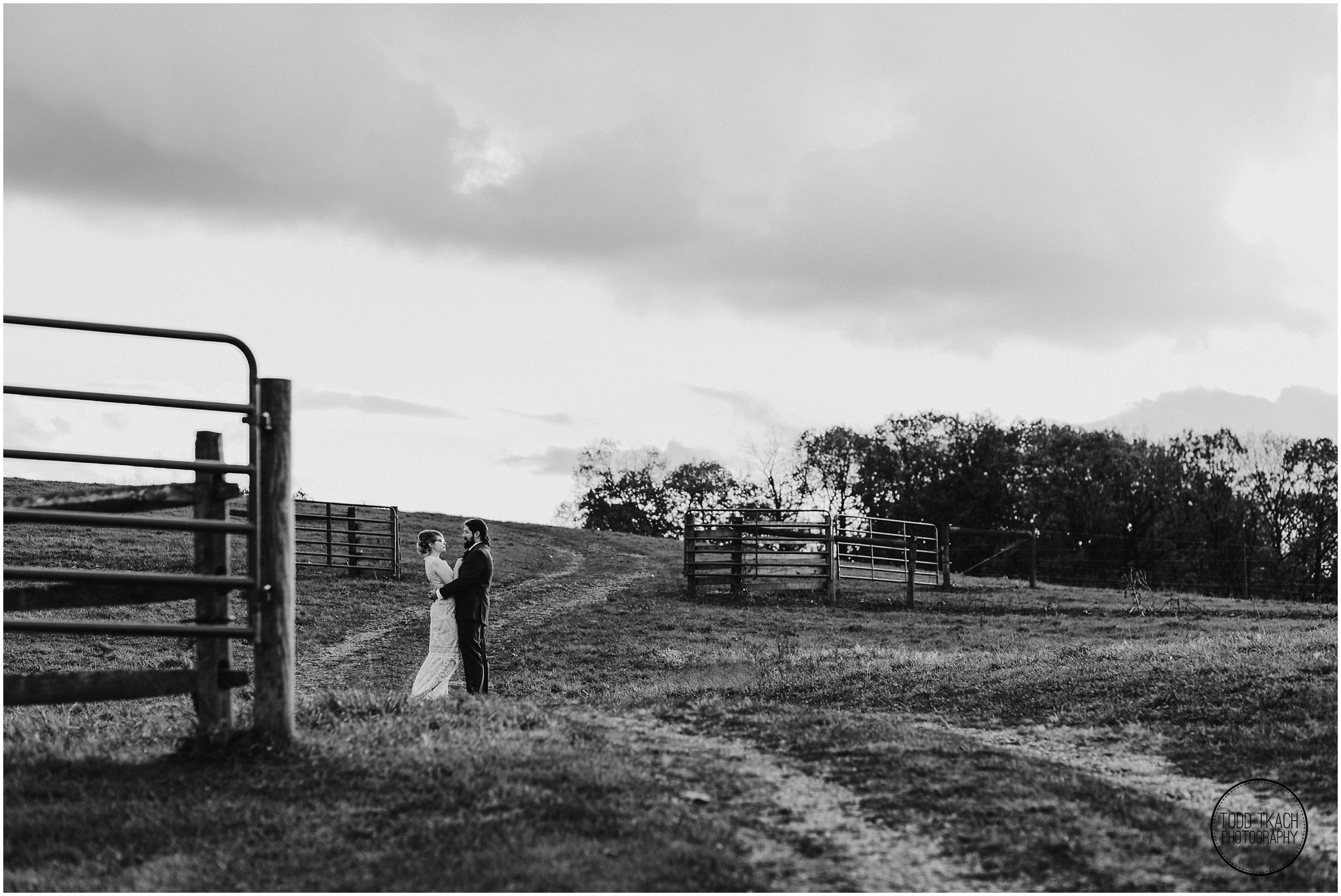 Alyse & Michael Wedding - Black White Field Portrait
