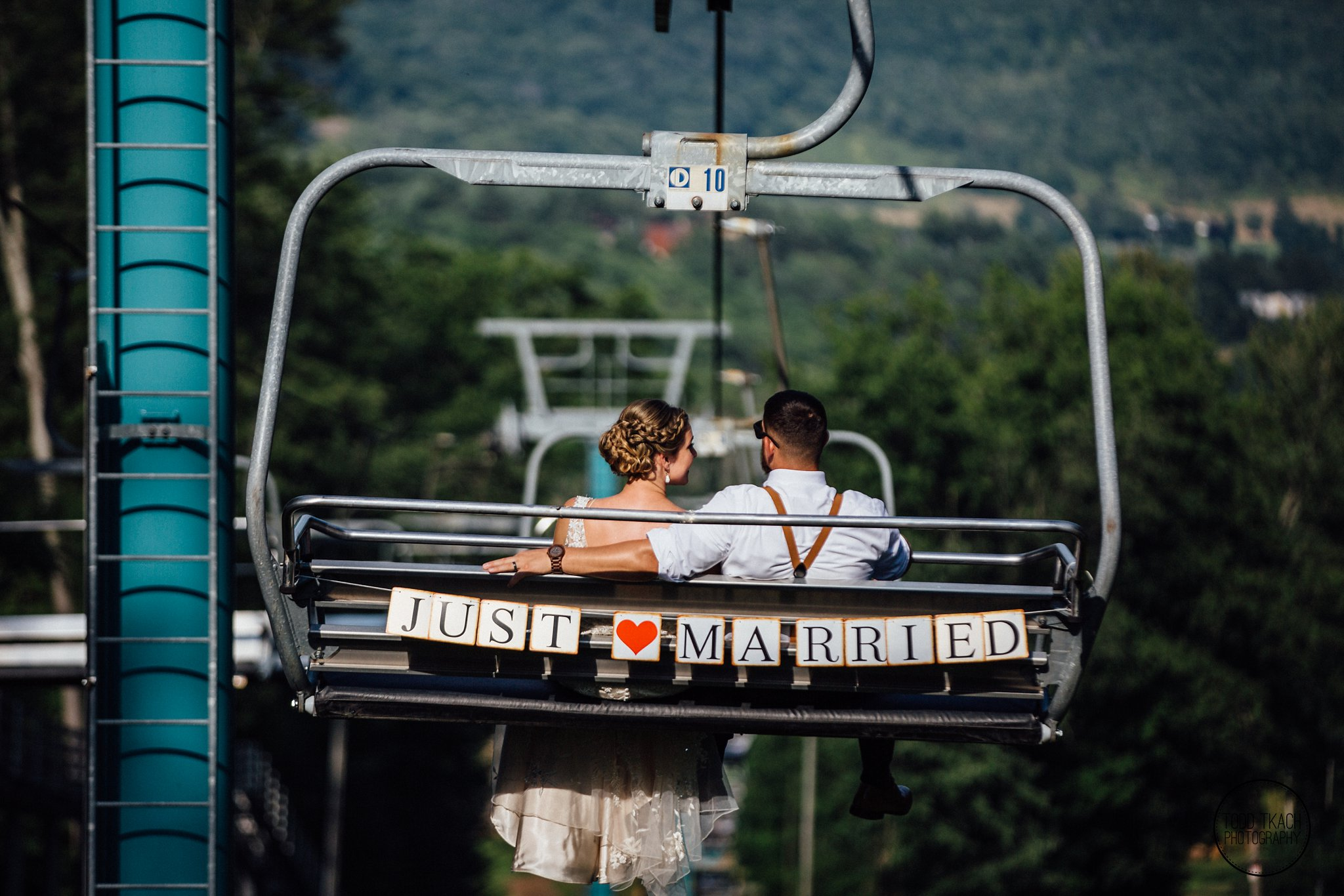 Kim & Brandon Just Married Ski Lift Portrait